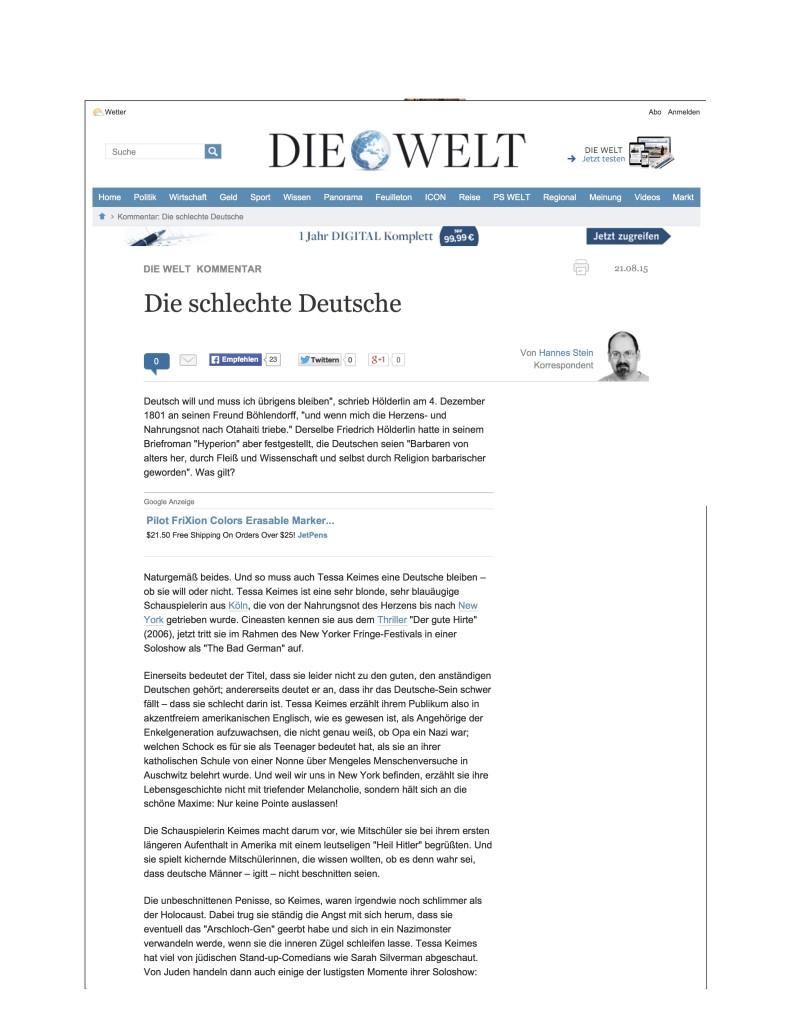 Kommentar_ Die schlechte Deutsche - Nachrichten Print - DIE WELT - Kultur (Print DW) - DIE WELT